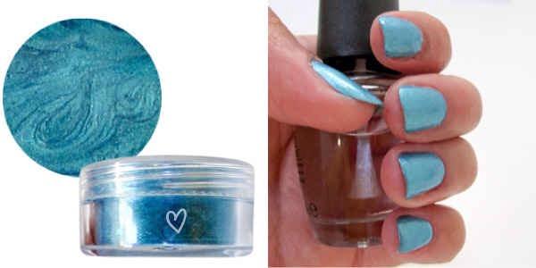 Eyeshadow and a good clear base coat = nail polish!
