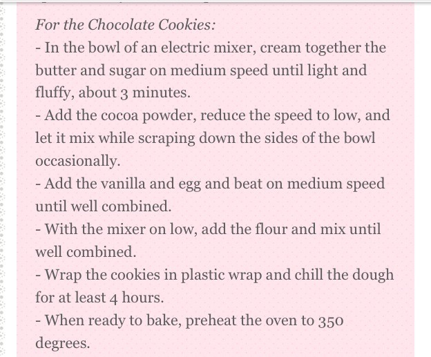 Directions for the chocolate cookies