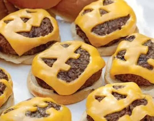 Jack o lantern cheese burgers!