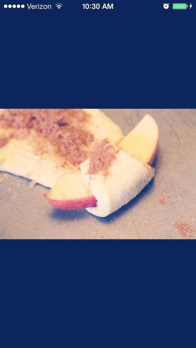 1 tube of crescent rolls Cut apple wedges  Sprinkle cinnamon and sugar Roll up and bake at 350 for 11-13 min.