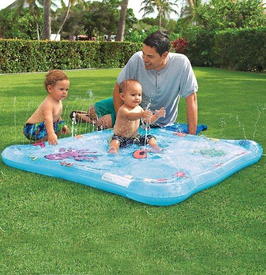 15. Baby Wading Pool This is like bringing the water park home! Just hook it up to a hose and let the little ones play and stay cool all day. Even the smallest of yards would have room for this kind of water play. Read the reviews and check it out here on Amazon. http://www.amazon.com/gp/product/B00