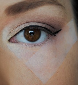 Use tape to get a perfect winged eyeliner look