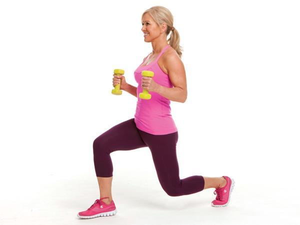 Week 1: Alternating Forward Lunge with Hammer Curl Targets: butt, legs, biceps Stand holding dumbbells by sides. Step forward with right leg slowly lower into a lunge while curling weights toward shoulders. Press into right foot return to start, lowering weights. Alternate front leg with each rep