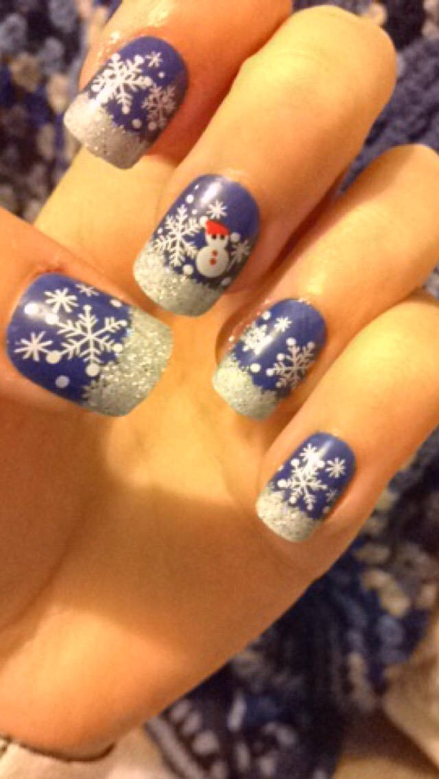 Snowflakes and snowman false nails from primark!  ~£1