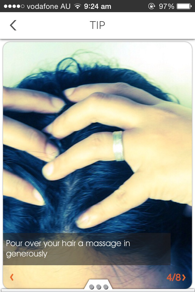 Once cool, apply to scalp, massage in gently
