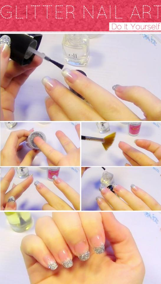 Musely easy diy glitter nail art tutorial french manicure solutioingenieria Images