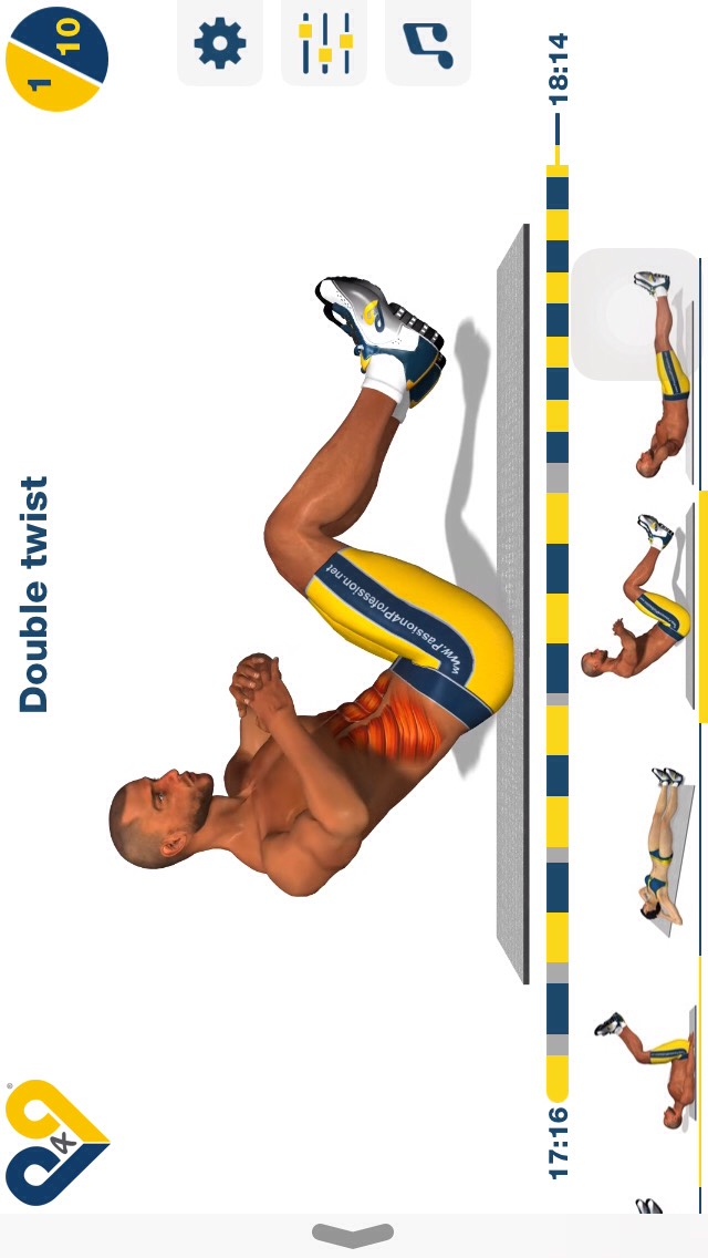 double twist, sit on your booty and sit almost upright, then twist your upper body to one side and try to touch the ground; 10 reps.