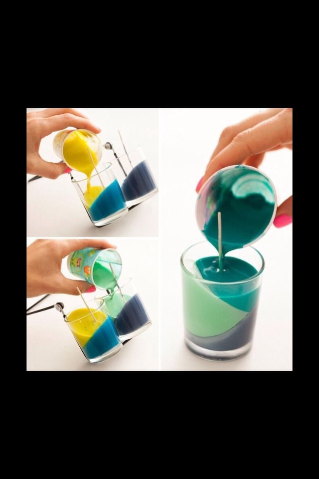 Melt a crayon in a cup and pour into candle mold.. Wait until the first wax color is hardened to pour the next one in.
