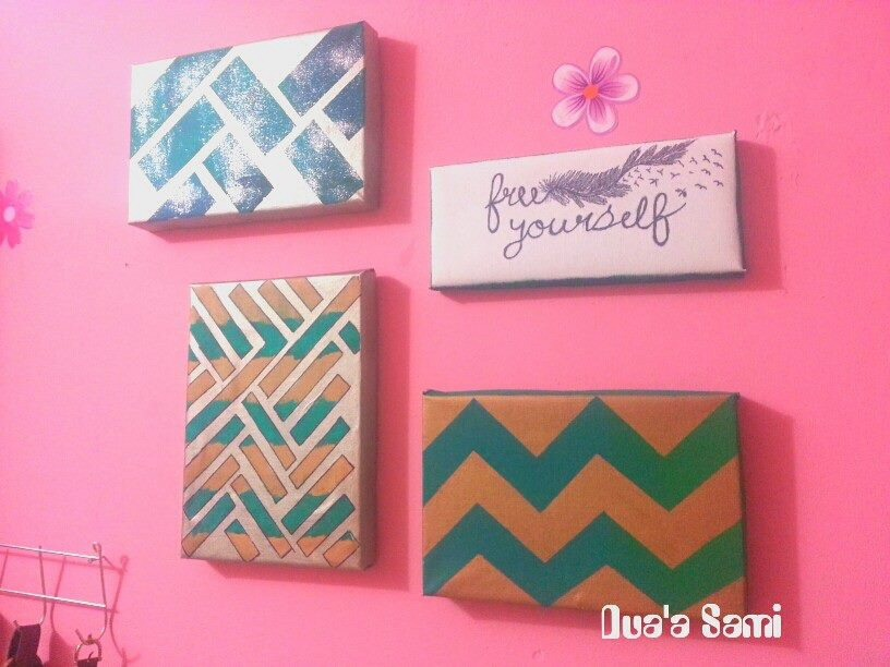 Super cute decor for wall! Supplies needed:at least 3 faviort  colored spray paint or regular paint  white boards, painter strips,
