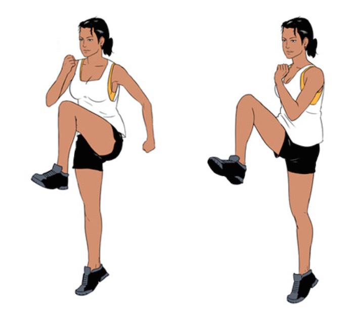 Do high knees for 30 seconds, rest , and do for another 30 seconds