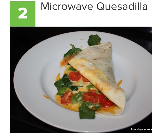 Grab a microwaveable plate, a tortilla, and your favorite kind of cheese. Lay the tortilla flat and add your favorite kind of cheese, then microwave for about one minute. Add any other toppings, like salsa, sour cream, or veggies. Fold in half, and you have a tasty, filling snack.