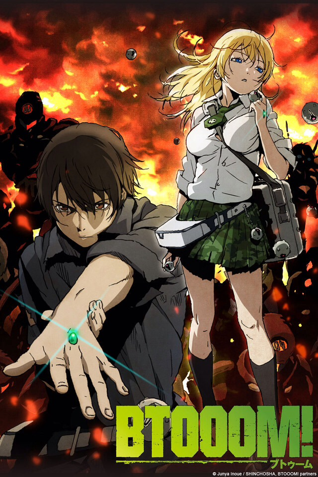 Btooom!: is about an organization that recreated an online game into reality and maroons players on an island to reenact it.   It's really good but it just came out and so were currently awaiting the next season.
