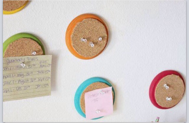 All you need is some Cork (cut in circles) super glue, and colorful coasters! :)