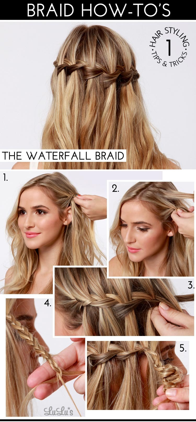 To create the look you will first need to make a waterfall braid on both side of your hair using the instructions above,