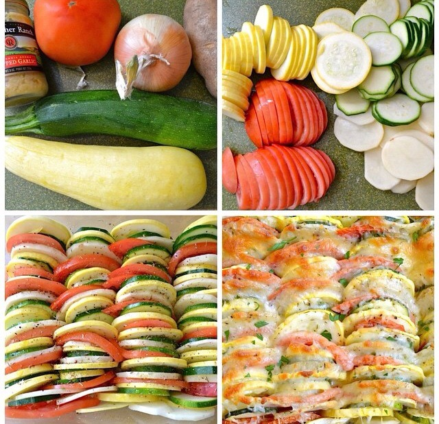 All your favorite vegetables like you were to make a lasagna. Small amount of cheese. Remember you want this healthy