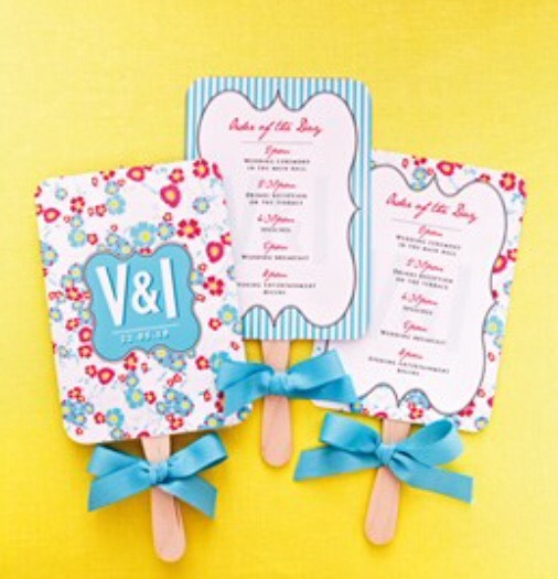 Keep your guests cool at a summer wedding by attaching your order of the day to a lolly stick, so guests can use it as a fan!