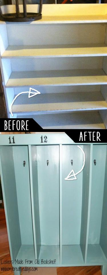 Lockers Made From Old Bookshelf  http://mycreativedays.porch.com/lockers-made-from-old-bookshelf/