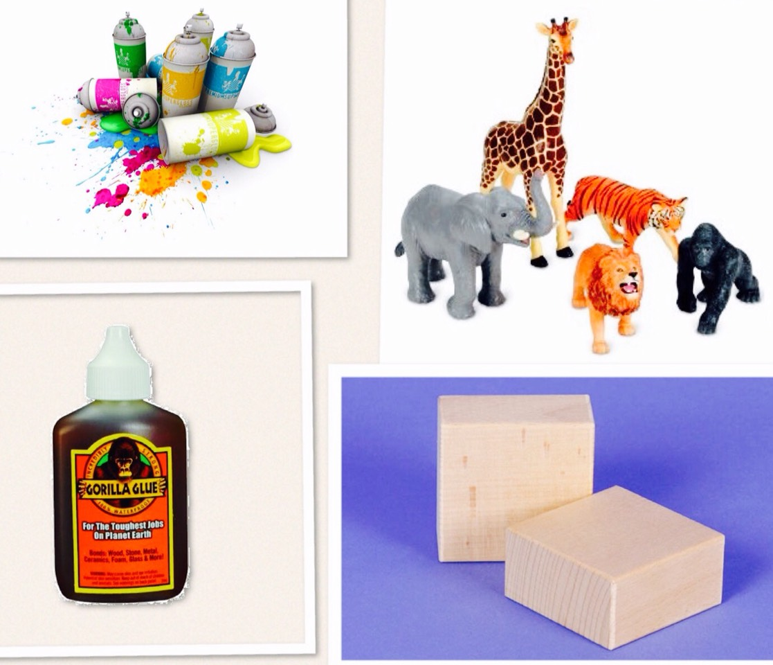 WHAT YOU'LL NEED:  TWO WOOD BLOCKS PAINT (COLOR OF YOUR CHOICE)  GORILLA GLUE  PAIR OF PLASTIC TOY ANIMALS