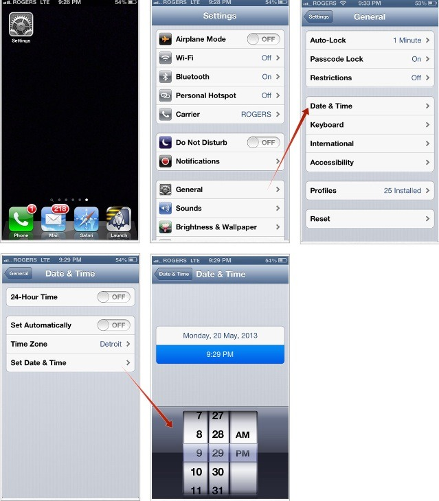 Set the time on your iPod/iPad etc ahead 2 hours and a half or you can just go three hours.