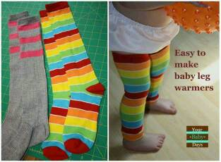 DIY tube socks into super cute baby leg warmers