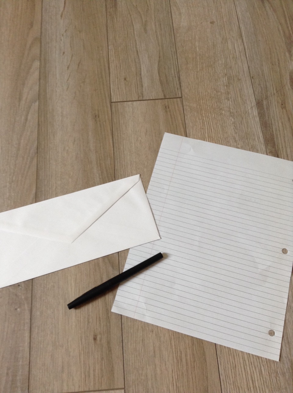 The things you will need are lined paper, an envelope and a pen!