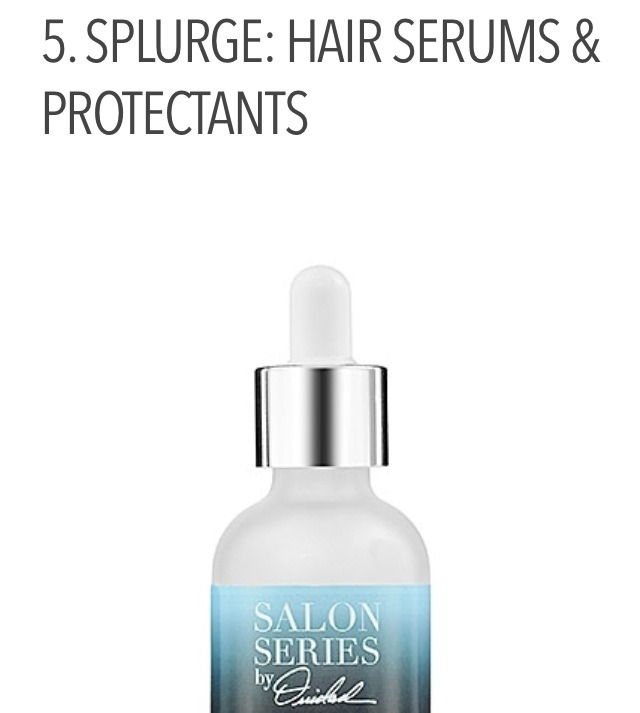 Perhaps I haven't found the right drugstore brand of hair serums, but I've definitely come across amazing high-end brands that make a world of difference in my hair's texture! Find one that protects against heat and split ends, detangles, conditions and smooths.