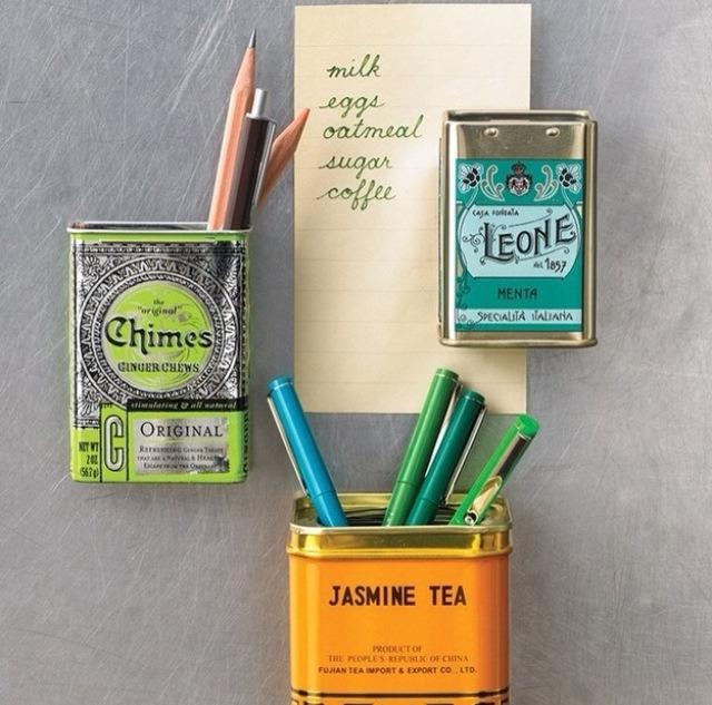 Use a magnet inside a tea tin for storage on you fridge