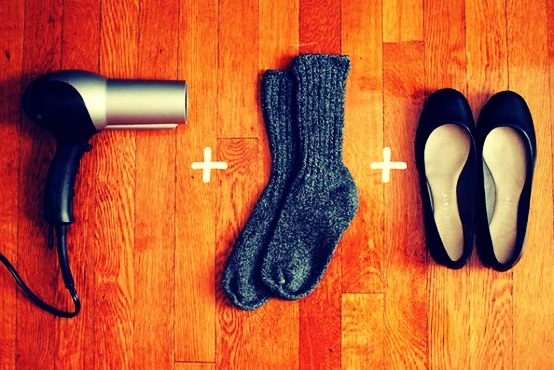 Break in stiff or too-snug shoes by slipping them on with socks and blasting your feet with a hot hairdryer.