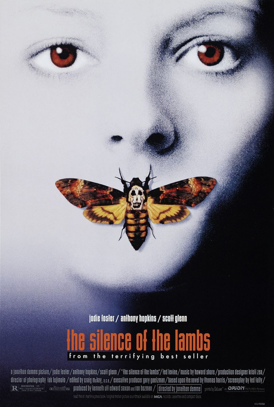 The Silence of the Lambs, 1991 American thriller that also fits in the crime and horror genres, starring Anthony Hopkins, Jodie Foster, Ted Levine and Scott Glenn.... Such a creepy film... Gave me the shivers but it's still a really good film😝DON'T watch it ALONE!!!