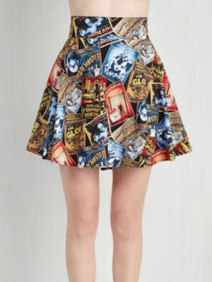 Feeling Playful Skirt In Scary Movies If you're into old film, especially old horror movies, you're going to immediately fawn over this skirt. It's versatile enough to wear with a crop top, a body suit, or your favorite chunky sweater. Buy it at Mod Cloth for $49.99