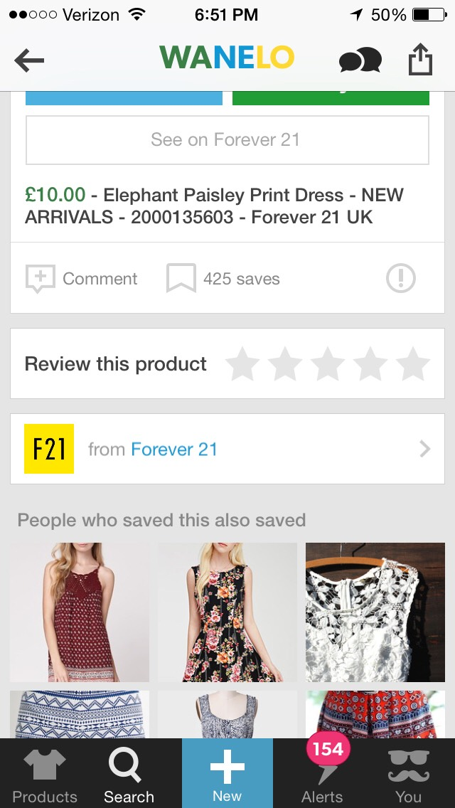 Wanelo also has stores you find in the mall like Forever 21.