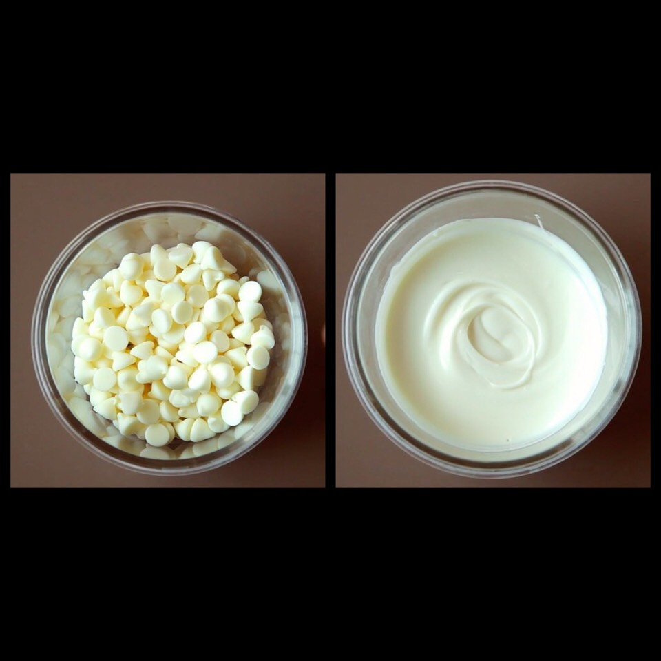 1. Start by melting a half cup of white chocolate chips in the microwave: