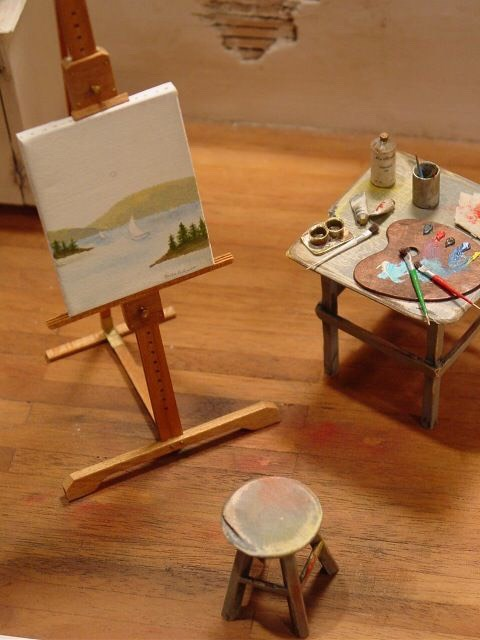 Paint scenery if you can handle the tiny paint brushes and working space (or even like this set up an art studio in a doll house)