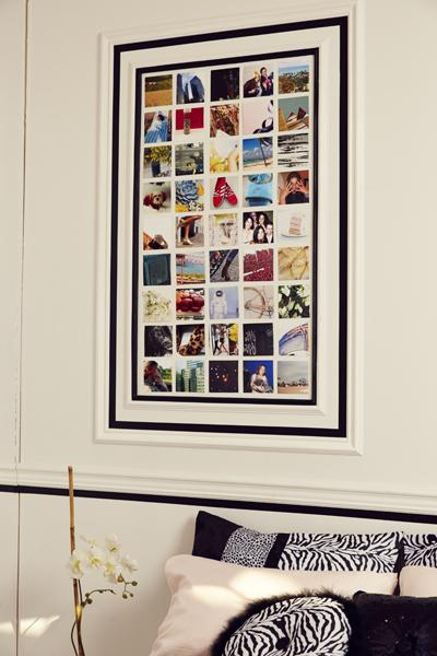 7. Inspiration Wall Use cool pics to create an inspiration wall just like designers do. Keep it elegant, not messy, by taping off an area with black tape and then arranging your photos neatly in rows.