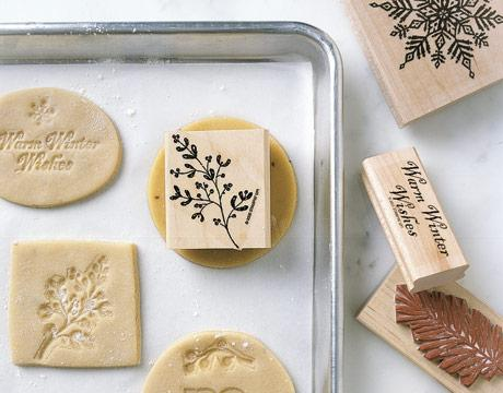 Press clean, unused stamps into cookie dough for beautiful designs.