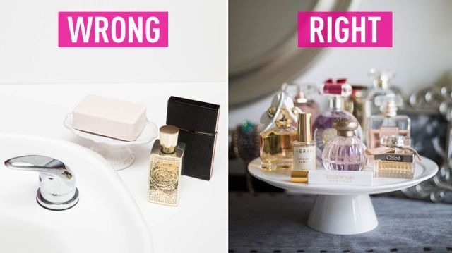 Perfume bottles need to be taken care of properly so don't put them in areas where they can fall and break