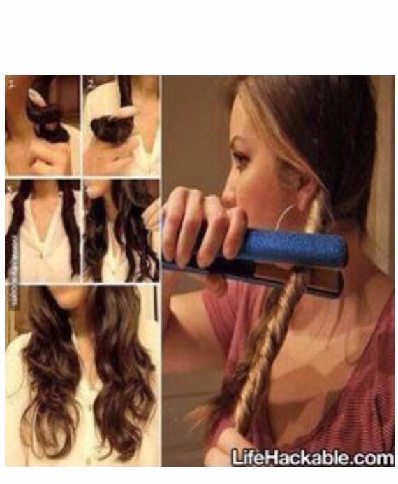 Straighten over twisted hair for light curls!