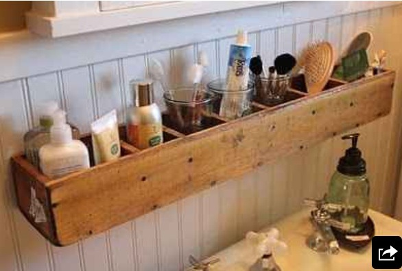 Old cd shelving for a bathroom organizer.