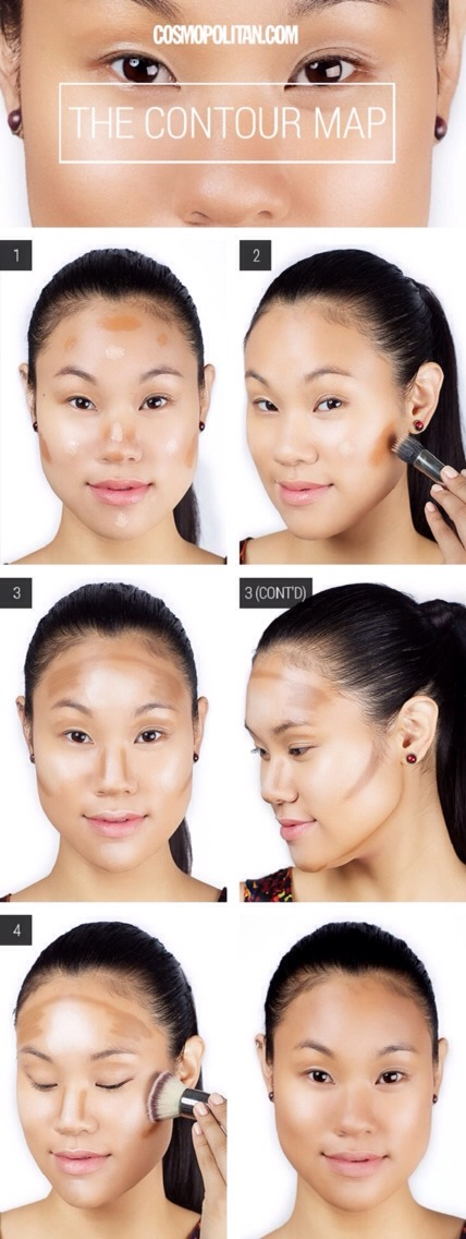 After contour and highlights are applied, blend with w/ large make-up brush.