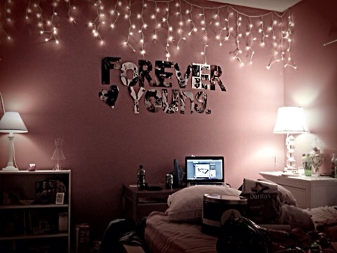 The second step is to add fairy lights. This gives your room a real tumblr effect and they look really pretty at night. If you hang these around the things on your wall this completes the tumblr look.