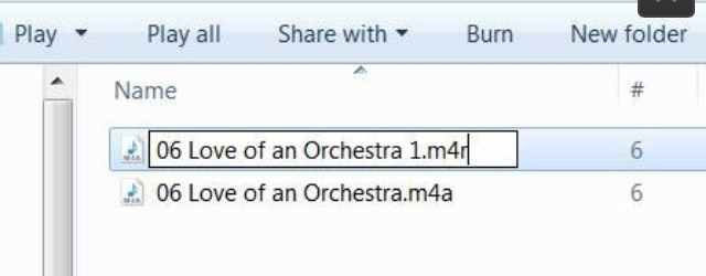 6. Change File Extension When the song has opened in Windows Explorer, single click on the title of the song (make sure you're on the shortened version) and overtype the file extension to a .m4r file type. Double click on the song and it should re-open in iTunes.