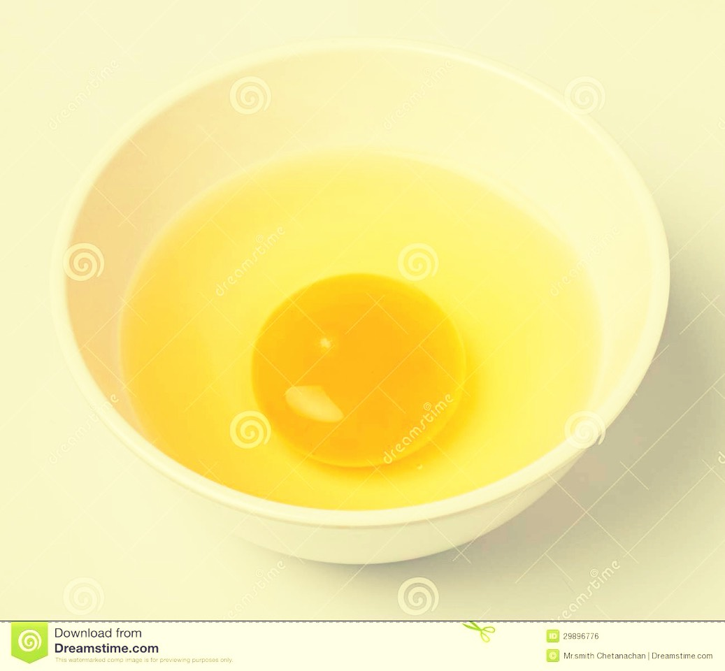 And the yolk in the other.