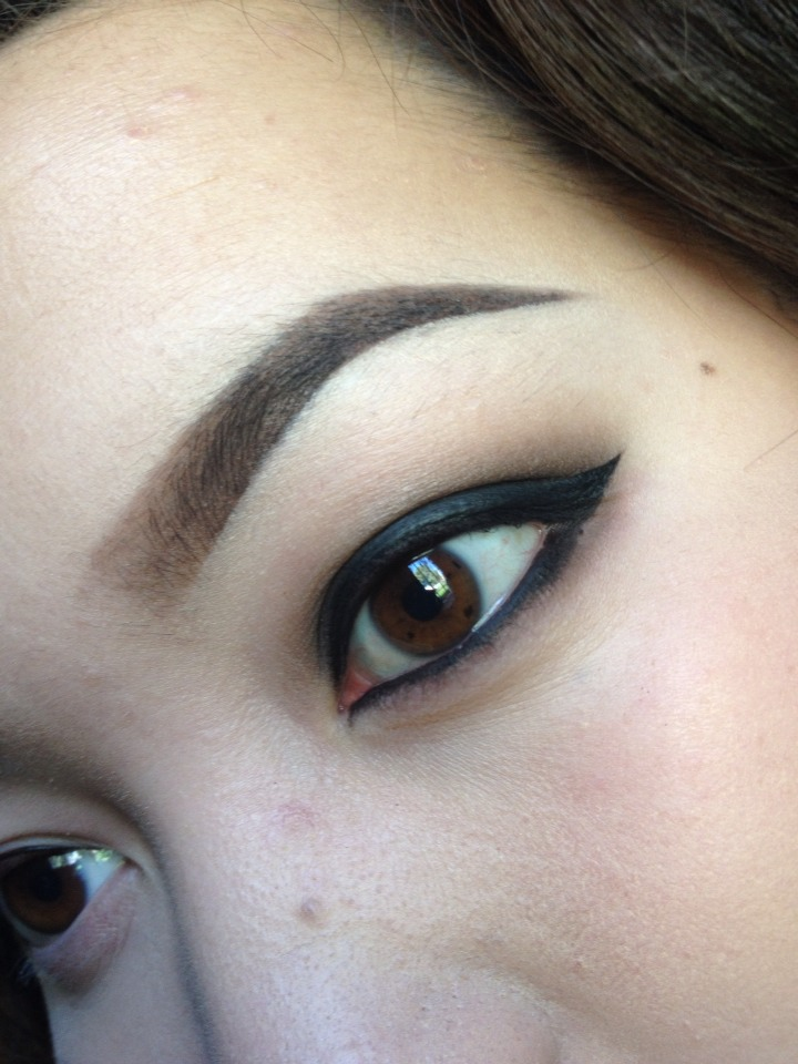 Add eyeliner on waterline.  Add faint to the lower lashes to create smokey look.