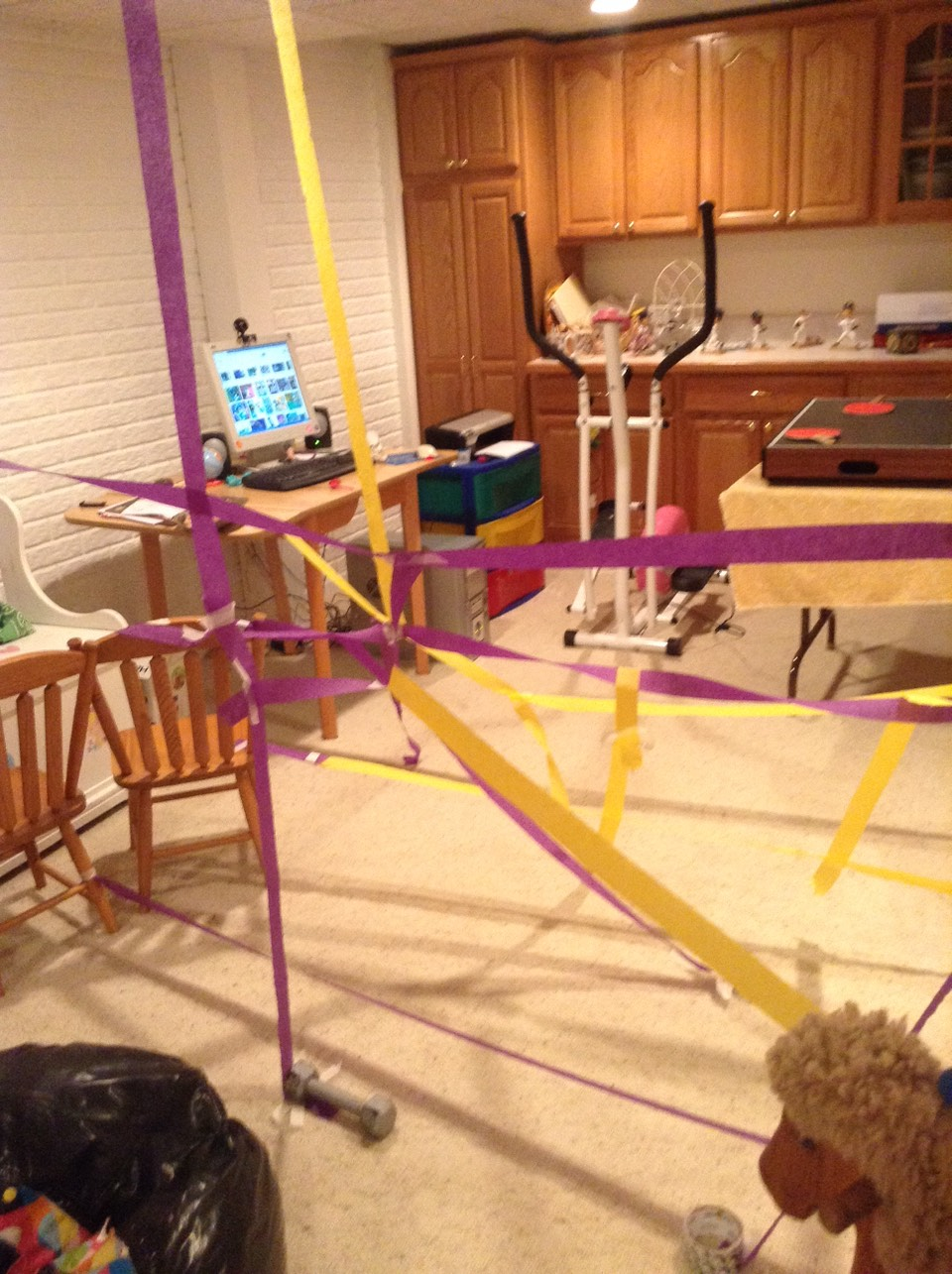 """Use streamers and tape for a """"laser"""" maze"""