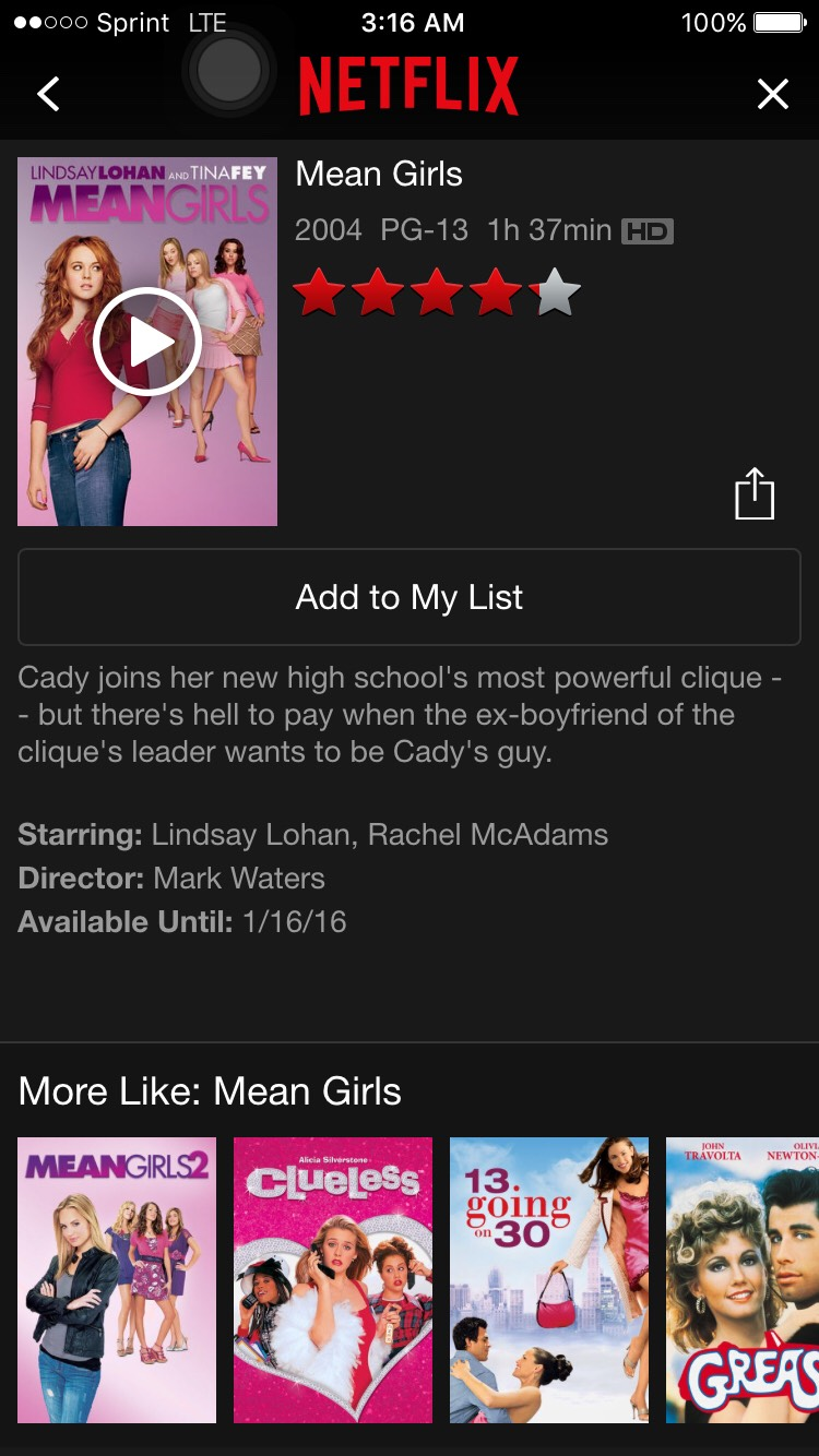 Mean Girls is one of the most famous movies ever! This is a must watch movie. A homeschool girl is beginning high school for the first time and a popular group notices her and change her life.