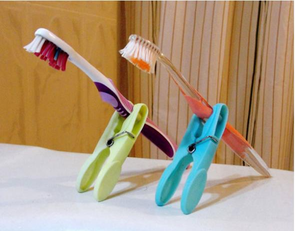 Snack clips can double as toothbrush holders.  Hard-working as always, these clips can even hold make-up brushes, eyeliners and more, too.