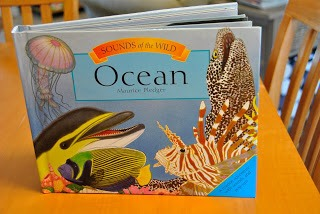 We started the day by talking about all of the things you find in the ocean. This book complimented the lesson perfectly. It is a pop up book that makes sounds of the ocean, dolphins, divers, etc. Super Cool!
