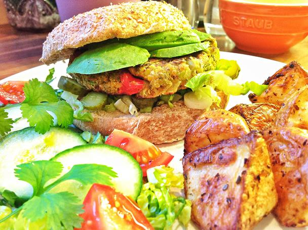 Roasted Broccoli and Chickpea Burgers - Makes 4 Burgers