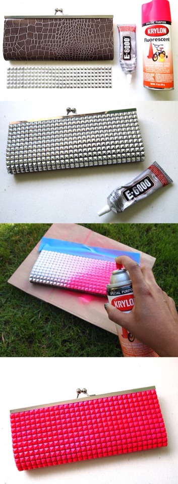 Double click for full view - Please don't forget to like 👍  Neon is one of the hottest trends ever. Here's a little neon clutch DIY picture tutorial that's a must for your wardrobe.
