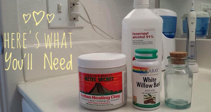 (+)  A small bottle with a wide top (a q-tip must be able to touch the bottom) (+) rubbing alcohol (you can sub witch hazel or vinegar but it won't be as well) (+) white willow bark or white willow bark capsules fthis herb contains the salicylic acid)